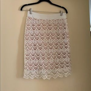 Pink and white, scalloped, pencil skirt, Med